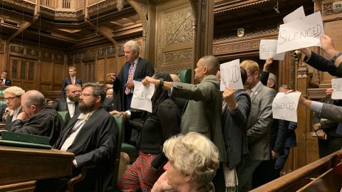 British MP Stephen Morgan posted this photo from the House of Commons to Twitter in the early hours of Tuesday with the caption 'Bercow the hero'.