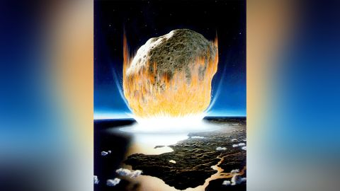 An artist's interpretation of the asteroid impact that wiped out all non-avian dinosaurs
