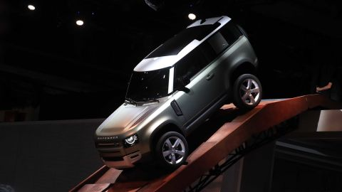 The new Land Rover Defender SUV on display on the opening day of the Frankfurt Motor Show in Germany.
