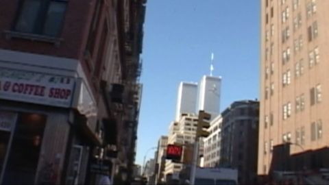 In this image taken from video, American Airlines Flight 11 is seen seconds before crashing into the north tower of the World Trade Center at 8:46 a.m. ET. It was the first plane that hit the World Trade Center. Flight 11 took off from Boston and was scheduled to fly to Los Angeles.