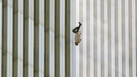 """A man falls from one of the World Trade Center towers. The publication of this photo, taken by Richard Drew, led to a public outcry from people who found it insensitive. Drew sees it differently. <a href=""""http://www.thedailybeast.com/articles/2011/09/08/richard-drew-s-the-falling-man-ap-photographer-on-his-iconic-9-11-photo.html"""" target=""""_blank"""" target=""""_blank"""">On the 10th anniversary of the attacks,</a> he said he considers the falling man an """"unknown soldier"""" who he hopes """"represents everyone who had that same fate that day."""" It's believed that upwards of 200 people fell or jumped to their deaths after the planes hit the towers."""