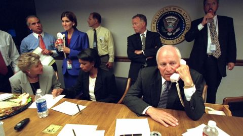 Vice President Dick Cheney talks on the phone from inside the President's Emergency Operations Center.