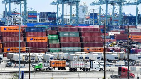 Container trucks arrive at the Port of Long Beach on August 23, 2019 in Long Beach, California. - President Donald Trump hit back at China on August 23, 2019, in their mounting trade war, raising existing and planned tariffs in retaliation for Beijing's announcement earlier in the day of new duties on American goods. (Photo by Frederic J. BROWN / AFP)        (Photo credit should read FREDERIC J. BROWN/AFP/Getty Images)