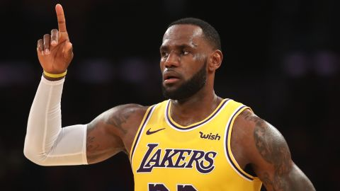 LeBron James of the Los Angeles Lakers on March 04, 2019 in Los Angeles, California.f