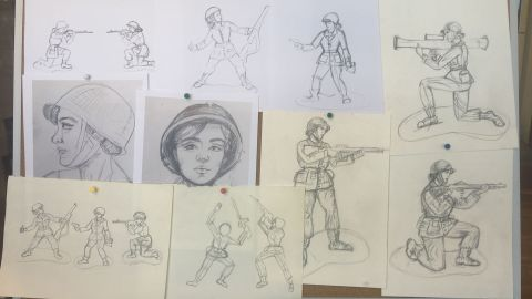 Artist Tina Imel drew concept sketches for the figures.