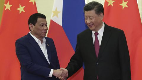 BEIJING, CHINA - APRIL 25: Philippine President Rodrigo Duterte, left, shakes hands with Chinese President Xi Jinping, right, before the meeting at the Great Hall of People in Beijing, China on April 25, 2019. (Photo by Kenzaburo Fukuhara/Kyodo News - Pool/Getty Images)