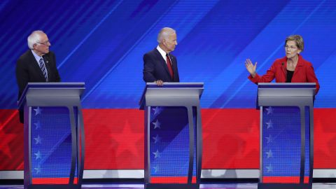 HOUSTON, TEXAS - SEPTEMBER 12: Democratic presidential candidates Sen. Bernie Sanders (I-VT) and former Vice President Joe Biden look on as Sen. Elizabeth Warren (D-MA) speaks during the Democratic Presidential Debate at Texas Southern University's Health and PE Center on September 12, 2019 in Houston, Texas. Ten Democratic presidential hopefuls were chosen from the larger field of candidates to participate in the debate hosted by ABC News in partnership with Univision. (Photo by Win McNamee/Getty Images)