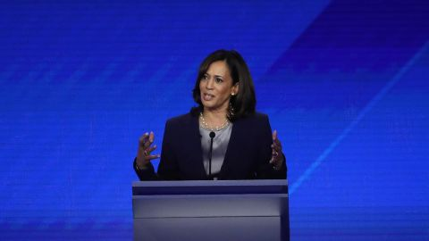 HOUSTON, TEXAS - SEPTEMBER 12: Democratic presidential candidates Sen. Elizabeth Warren (D-MA), Sen. Kamala Harris (D-CA), and former tech executive Andrew Yang on stage during the Democratic Presidential Debate at Texas Southern University's Health and PE Center on September 12, 2019 in Houston, Texas. Ten Democratic presidential hopefuls were chosen from the larger field of candidates to participate in the debate hosted by ABC News in partnership with Univision. (Photo by Win McNamee/Getty Images)