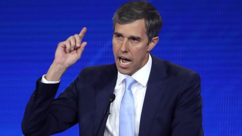 HOUSTON, TEXAS - SEPTEMBER 12: Democratic presidential candidate former Texas congressman Beto O'Rourke speaks during the Democratic Presidential Debate at Texas Southern University's Health and PE Center on September 12, 2019 in Houston, Texas. Ten Democratic presidential hopefuls were chosen from the larger field of candidates to participate in the debate hosted by ABC News in partnership with Univision. (Photo by Win McNamee/Getty Images)
