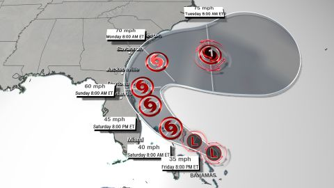 A forecast track for the storm, as of 11 a.m. ET Friday