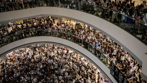 Protesters sing songs and shout slogans after gathering at the IFC Mall on September 12, 2019 in Hong Kong, China.
