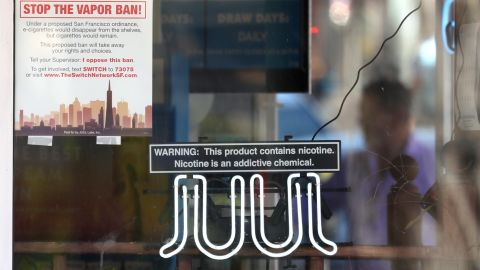 SAN FRANCISCO, CALIFORNIA - JUNE 25: A neon sign advertising Juul e-cigarettes is displayed in a window of a tobacco store on June 25, 2019 in San Francisco, California. The San Francisco Board of Supervisors voted unanimously, 11-0, to be the first city in the United States to ban e-cigarettes, nicotine pods and devices that have not been approved by the Food and Drug Administration. (Photo by Justin Sullivan/Getty Images)