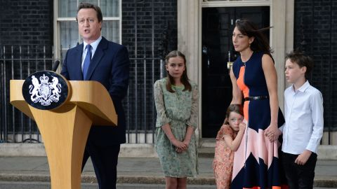David Cameron with his family on the day he stepped down as prime minister.