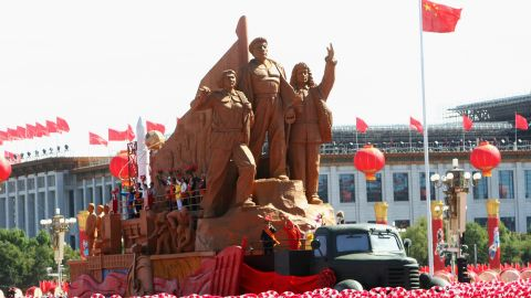 A float takes part in a parade to celebrate the 60th anniversary of the founding of the People's Republic of China on October 1, 2009 in Beijing.