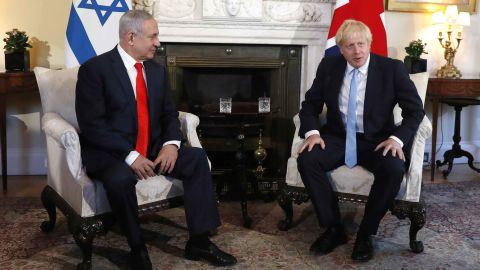 Netanyahu meets with British Prime Minister Boris Johnson in London in September 2019.