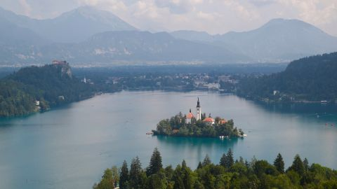 <strong>Lake Bled, Slovenia:</strong> The Pilgrimage Church of the Assumption of Mary sits on an island in the middle of Lake Bled, around 55 kilometers from Ljubljana, the Slovenian capital.