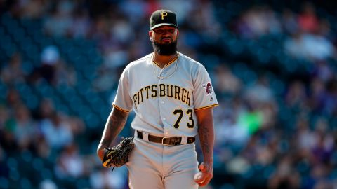 Pittsburgh Pirates relief pitcher Felipe Vazquez (73) in the ninth inning of a baseball game Sunday, Sept. 1, 2019, in Denver. Pittsburgh won 6-2. (AP Photo/David Zalubowski)