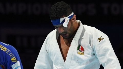 Saeid Mollaei following his loss against Belgium's Matthias Casse during the semifinal of the men's under 81kg category at the 2019 Judo World Championships.