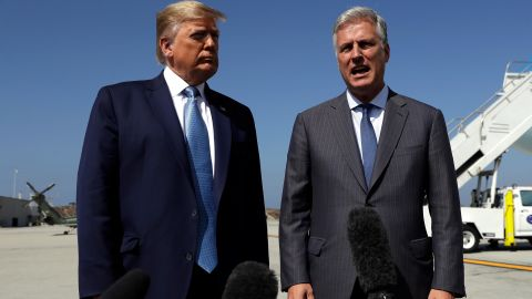 President Donald Trump and Robert O'Brien, just named as the new national security adviser, speak to the media at Los Angeles International Airport, Wednesday, September 18, 2019, in Los Angeles.