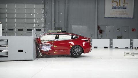 The Tesla Model 3 during a crash test.