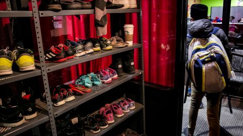 Shoes are seen on shelves at the Rohingya Cultural Center of Chicago on January 11, 2019 in Chicago, Illinois.