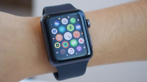 An Apple Watch customer showcases the device's menu screeen.