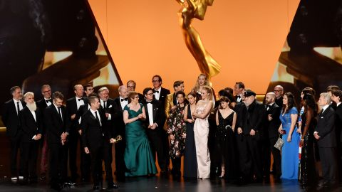 'Game of Thrones' team accepts the outstanding drama series Emmy. (Photo by Kevin Winter/Getty Images)