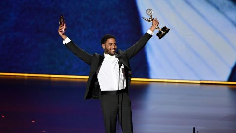 """Jharrel Jerome accepts the 2019 Emmy for Outstanding Lead Actor in a Limited Series for his performance as Korey Wise in """"When They See Us."""""""