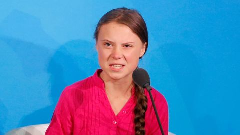 Environmental activist Greta Thunberg addresses the Climate Action Summit at the United Nations General Assembly.