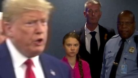 Swedish environmental activist Greta Thunberg watches as U.S. President Donald Trump enters the United Nations to speak with reporters in a still image from video taken in New York City, U.S. September 23, 2019.