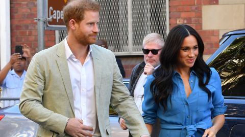 Prince Harry and Meghan, the Duke and Duchess of Sussex, visit the District Six Museum in Cape Town, South Africa, on September 23, 2019.