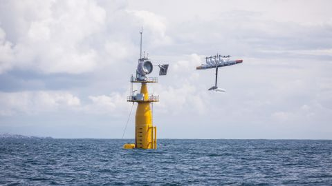 August 2019 - Makani's energy kite launches from a floating platform in the North Sea off the coast of Norway