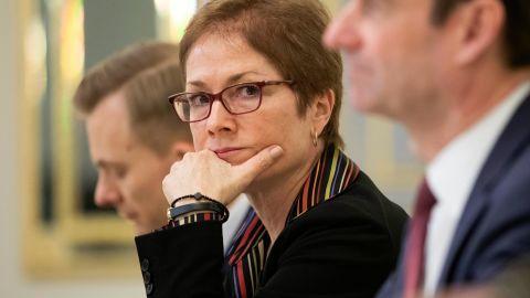 Former US Ambassador to Ukraine Marie Yovanovitch, center, is pictured in Kiev, Ukraine, March 6, 2019.