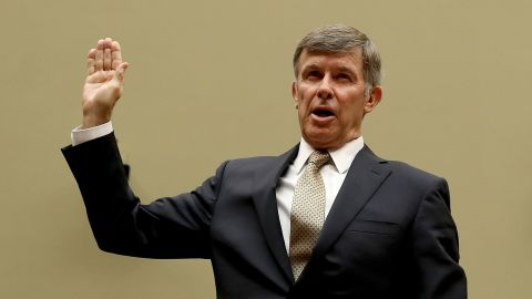 """WASHINGTON, DC - SEPTEMBER 26: Acting Director of National Intelligence Joseph Maguire is sworn in prior to testifying before the House Select Committee on Intelligence in the Rayburn House Office Building on Capitol Hill September 26, 2019 in Washington, DC. The committee questioned Maguire about a recent whistleblower complaint reportedly based on U.S. President Donald Trump pressuring Ukraine President Volodymyr Zelensky to investigate leading Democrats as """"a favor"""" to him during a recent phone conversation.   (Photo by Chip Somodevilla/Getty Images)"""