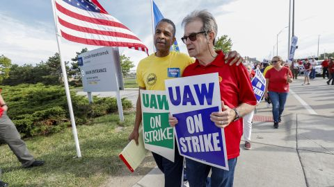 DETROIT, MI - SEPTEMBER 25: Former UAW President Bob King (R) walks with striking United Auto Workers (UAW) union members as they picket at the General Motors Detroit-Hamtramck Assembly Plant on September 25, 2019 in Detroit, Michigan. The UAW called a strike against GM at midnight on September 15th, the union's first national strike since 2007. This is the union's longest national strike since 1970. (Photo by Bill Pugliano/Getty Images)