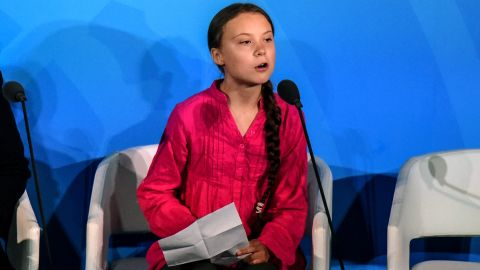 Youth activist Greta Thunberg speaking at the Climate Action Summit in New York earlier this year.