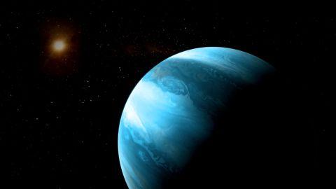 Jupiter-like planet with a blueish colour orbiting a cool red dwarf. CREDIT © CARMENES/RenderArea/J. Bollaín/C. Gallego