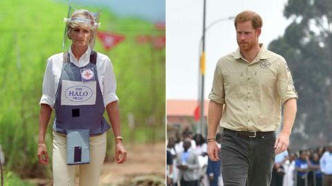 Diana walked through a minefield in Huambo, Angola, in 1997. Two decades on, Harry returned to the spot, which has been transformed into a bustling street.