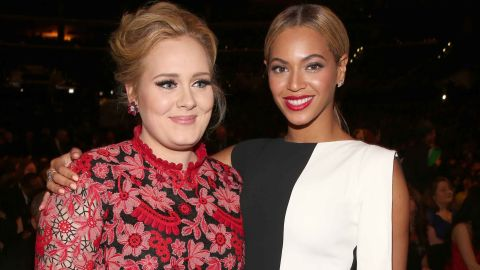 Adele and Beyoncé attend the Grammy Awards in Los Angeles on February 10, 2013.