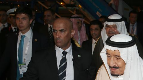 ANTALYA, TURKEY - NOVEMBER 12:  Saudi King Salman bin Abdul Aziz Al Saud (R) is welcomed by Turkish Economy Minister Nihat Zeybekci (R) upon his arrival at the Antalya International Airport for the upcoming G20 Turkey Leaders Summit on November 12, 2015 in Antalya, Turkey.  The 2015 G-20 Leaders Summit will be held in Antalya on November 15-16, 2015. (Photo by Okan Ozer/Anadolu Agency/Getty Images)