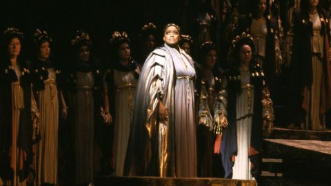 "Soprano Jessye Norman in 1983 as Cassandre in Berlioz' ""Les Troyens,"" the role of her Metropolitan Opera debut in New York."