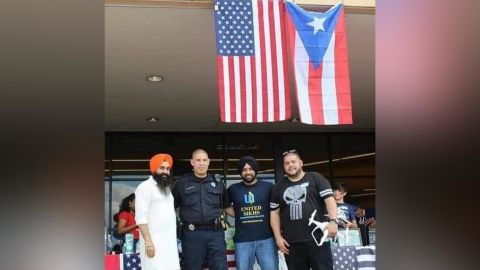 Deputy Sandeep Dhaliwal with a group of volunteers in Puerto Rico after Hurricane Maria.