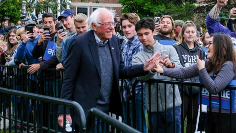 """Sanders campaigns at the University of New Hampshire in September 2019. A few days later, <a href=""""https://www.cnn.com/2019/10/02/politics/bernie-sanders-artery-blockage-2020/index.html"""" target=""""_blank"""">he took himself off the campaign trail</a> after doctors treated a blockage in one of his arteries. Sanders suffered a heart attack, his campaign confirmed."""