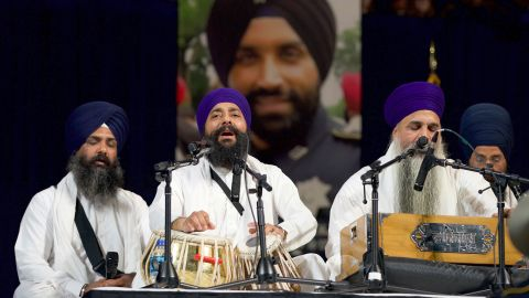 Wednesday's funeral service began with kirtan, Sikh devotional hymns played on Indian classical instruments.
