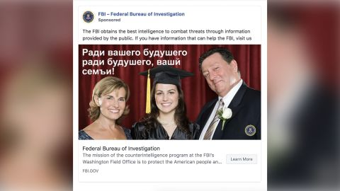 """This ad shows a stock photo of a young woman at her graduation with her family. The Russian text overlaid on the image reads, """"For your future, for the future of your family."""""""