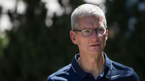 SUN VALLEY, ID - JULY 12: Tim Cook, chief executive officer of Apple, attends the second day of the annual Allen & Company Sun Valley Conference, July 12, 2017 in Sun Valley, Idaho. Every July, some of the world's most wealthy and powerful businesspeople from the media, finance, technology and political spheres converge at the Sun Valley Resort for the exclusive weeklong conference. (Photo by Drew Angerer/Getty Images)