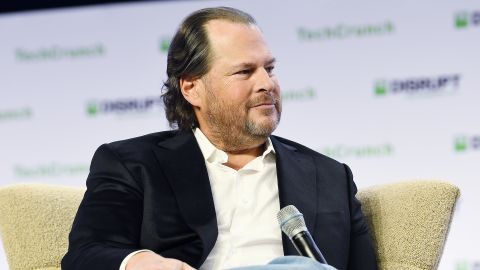 SAN FRANCISCO, CALIFORNIA - OCTOBER 03: Salesforce Chairman & Co-CEO Marc Benioff speaks onstage during TechCrunch Disrupt San Francisco 2019 at Moscone Convention Center on October 03, 2019 in San Francisco, California. (Photo by Steve Jennings/Getty Images for TechCrunch)