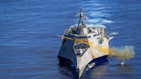 The USS Gabrielle Giffords, named for the Arizona lawmaker, launches a Naval Strike Missile during exercise Pacific Griffin.