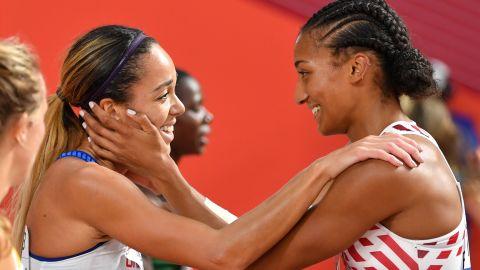 Katarina Johnson-Thompson is congratulated by Belgium's Nafi Thiam.