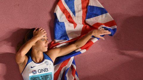 Katarina Johnson-Thompson celebrates after winning the Women's Heptathlon.